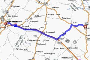 directions from Charlottesville